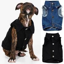 Cute Style Sleeveless POLO Collar Denim Coat for Pets