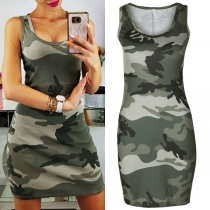 Sexy Contrast Color Sleeveless Slim Fit Over-hip Camouflage Dress