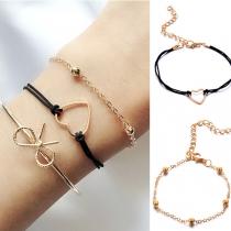 Fashion Bowknot Heart Bracelet Set 3 pcs/Set