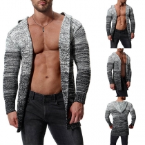Fashion Mixed Color Loong Sleeve Hooded Men's Cardigan