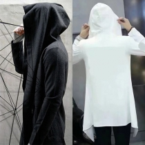Hip-hop Style Solid Color Long Sleeve Hooded Men's Thin Cardigan