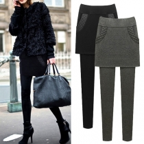 Fashion Solid Color High Waist Mock Two-piece Leggings(The size falls small)