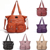 Retro Style Solid Color Shoulder Messenger Bag