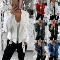 Fashion Solid Color Long Sleeve Oblique Zipper Sweatshirt(The size runs small)