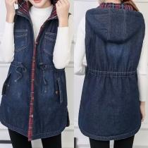 Fashion Sleeveless Drawstring Waist Hooded Denim Vest