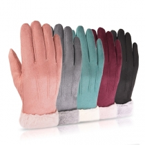 Fashion Solid Color Faux Fur Spliced Touch Sensitive Gloves