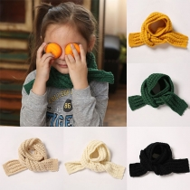 Fashion Solid Color Knit Scarf for Kids