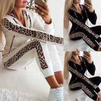 Fashion Leopard Spliced Long Sleeve Hoodie + Pants Thin Sports Suit( It falls small)