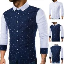 Fashion Long Sleeve POLO Collar Printed Spliced Man's Shirt