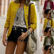 Fashion Solid Color Long Sleeve Stand Collar Double-breasted Thin Blazer