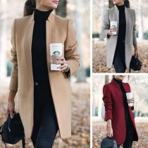 Fashion Solid Color Long Sleeve Stand Collar Woolen Coat