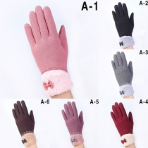 Fashion Lace Spliced Plush Lining Touch Sensitive Gloves