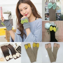 Fashion Contrast Color Bow-knot Fingerless Knit Long Gloves