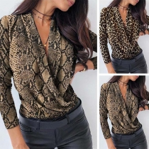 Sexy Deep V-neck Long Sleeve Leopard/Serpentine Printed Short Top