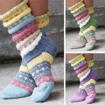 Fashion Contrast Color Knit Socks