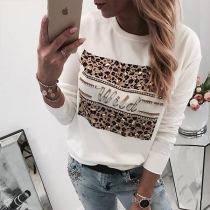 Fashion Rhinestone Spliced Leopard Printed Round Neck Shirt