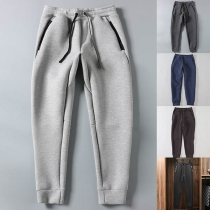Fashion Solid Color Drawstring Waist Man's Sports Pants