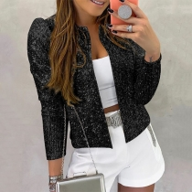Fashion Long Sleeve Stand Collar Sequin Jacket
