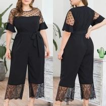 Sexy Dots Gauze Spliced Short Sleeve High Waist Jumpsuit