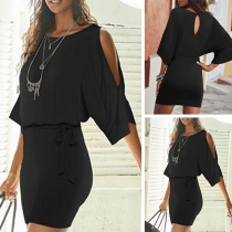 Sexy Off-shoulder 3/4 Sleeve Round Neck Solid Color Dress with Belt