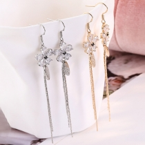 Fashion Long Tassel Pendant Rhinestone Flower Earrings
