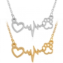 Chic Style Heart Electrocardiogram Pendant Necklace