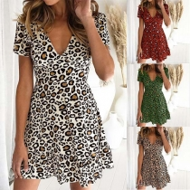 Sexy V-neck Short Sleeve High Waist Leopard Printed Dress
