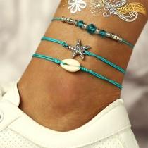 Bohemian Style Starfish Shell Pendant Bracelet Set 3 pcs/Set