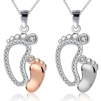 Cute Style Rhinestone Inlaid Feet Pendant Necklace