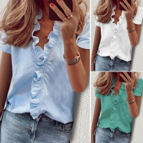 OL Style Short Sleeve V-neck Solid Color Ruffle Blouse