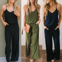 Sexy Backless V-neck Solid Color High Waist Sling Jumpsuit