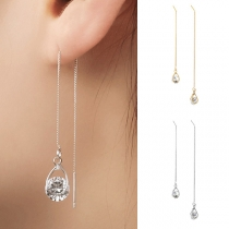 Fashion Rhinestone Pendant Long Chain Earrings Ear-line