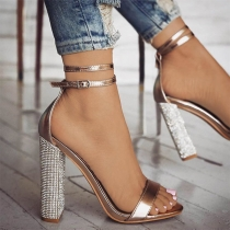 Sexy Rhinestone Thick High-heel Open Toe Sandals