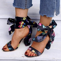 Fashion Thick High-heel Open Toe Colorful Printed Lace-up Sandals