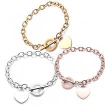 Fashion Heart Pendant Stainless Steel Bracelet