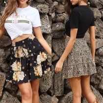 Fashion High Waist Ruffle Hem Leopard Printed Skirt