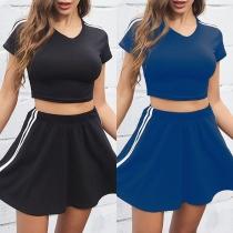 Fashion Striped Spliced Short Sleeve T-shirt + Skirt Two-piece Set
