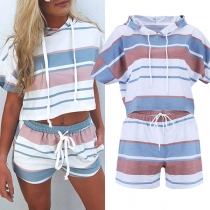 Fashion Short Sleeve Hooded Striped Top + Shorts Two-piece Set