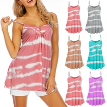 Sexy Backless V-neck Tie-dye Printed Sling Top