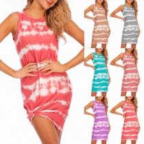 Fashion Sleeveless Round Neck Tie-dye Printed Dress