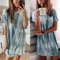 Fashion Tie-dye Printed Short Sleeve Round Neck T-shirt Dress