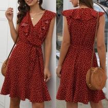 Sexy Ruffle V-neck Dots Printed Sleeveless Dress