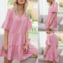 Sweet Style Lotus Sleeve V-neck Dots Printed Dress