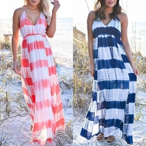 Sexy Backless V-neck High Waist Sling Striped Dress