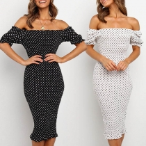 Sexy Puff Sleeve Boat Neck Dots Printed Slim Fit Dress