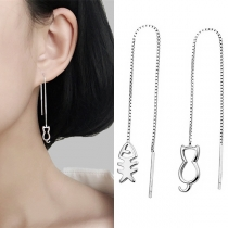 Cute Style Cat & Fish Pendant Asymmetric Ear-line