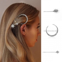 Fashion Rhinestone Inlaid Star Crescent Shaped Hairpin Set 3 pcs/Set