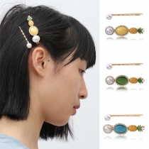 Fresh Style Pearl Inlaid Pineapple Shaped Hairpin Set 2 pcs/Set