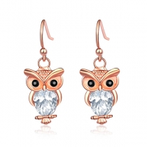 Cute Style Rhinestone Inlaid Owl Shaped Earrings