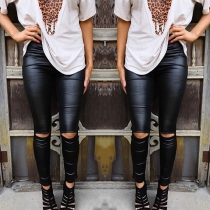 Fashion Solid Color High Waist Slim Fit Ripped Leggings